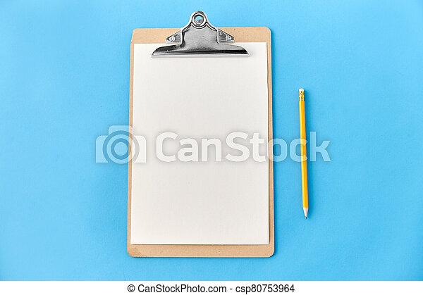 hoja, blanco, papel, portapapeles, lápiz - csp80753964
