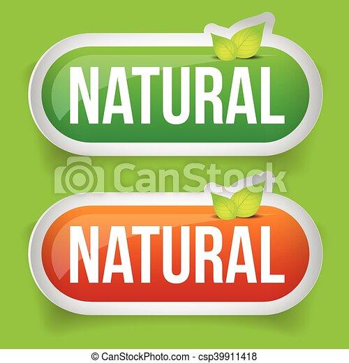 Botón natural verde con hoja - csp39911418