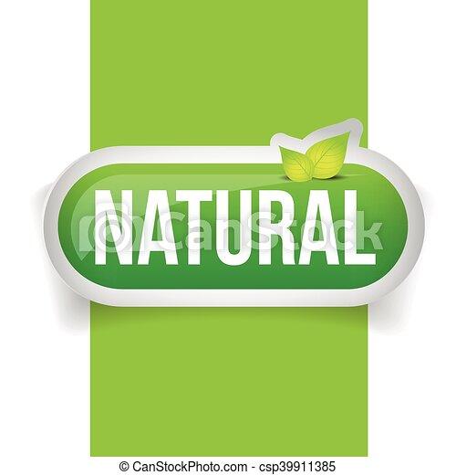 Botón natural verde con hoja - csp39911385