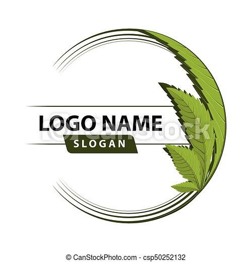 Logo de hoja verde cannabis. - csp50252132