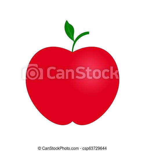 hoja, color de apple, verde, puntilla, rojo, icono - csp63729644