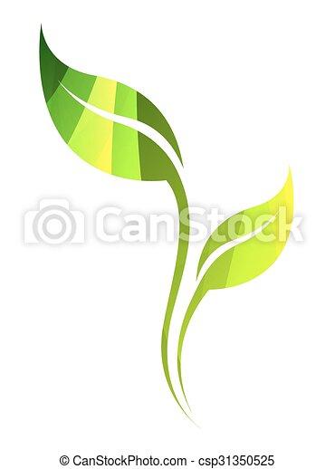 Hoja, color, primavera, aislado, eco, vector, verde, white., icon.
