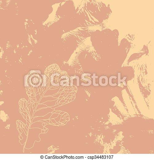 Defoliación de otoño en la naturaleza. Foliage de hoja de roble - csp34483107