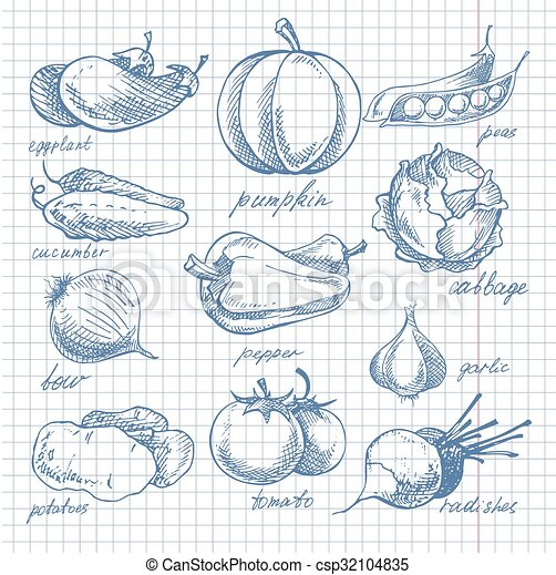 Hoja, garabato, vegetales, célula, cuaderno, tinta. Vector ...