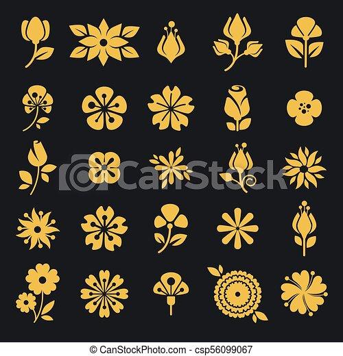 Hoja Iconos Flor Vector Silueta Flores Conjunto Arte Brotes