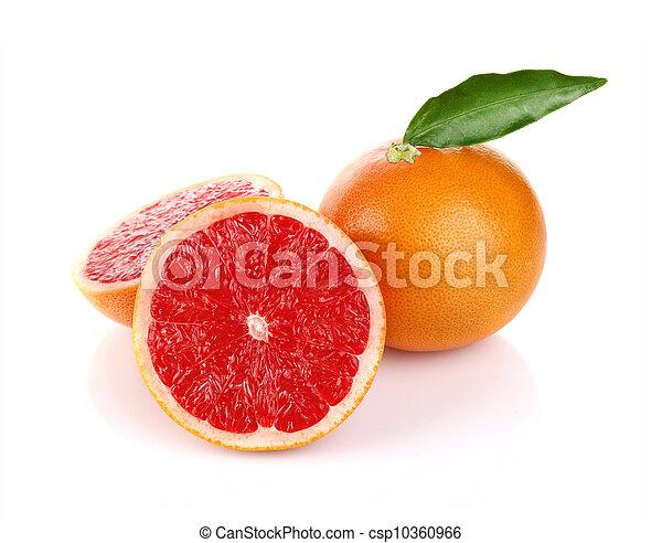 Pair jugoso pomelo con hojas verdes - csp10360966