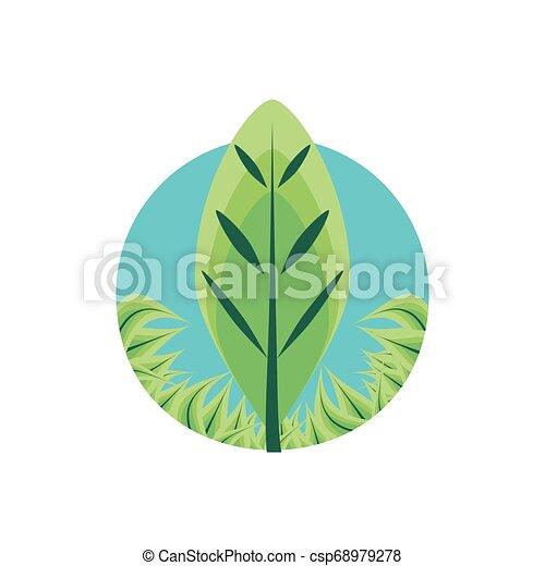Hoja natural en marco circular icono aislado - csp68979278