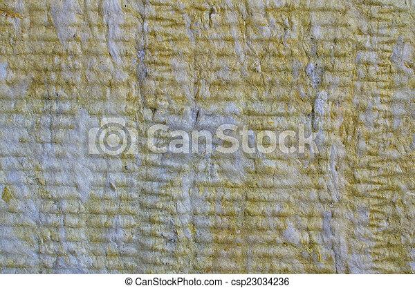Lana de roca de primer plano, textura material de aislamiento térmico - csp23034236