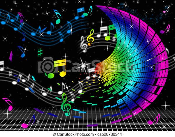Hoja, medios, color, notas, música, audio. Triple, color, notas ...