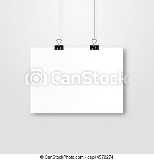 Hoja, mockup, pared, cartel, marco, template., papel,... ilustración ...
