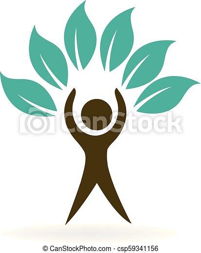 Hígado árbol hoja de hoja de naturaleza hombre vector icono - csp59341156