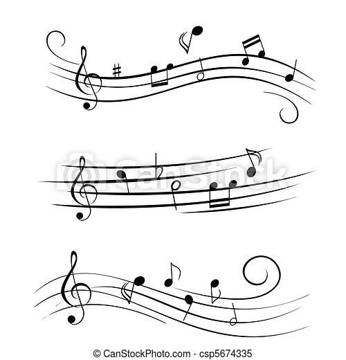 Hoja, notas, música, musical. Vario, notas, hoja, musical,... vector ...