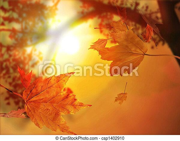 La hoja de otoño cae - csp1402910