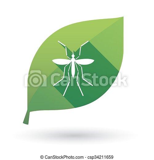 Hoja, portador, virus, verde, mosquito, zika. Hoja,... vector de ...