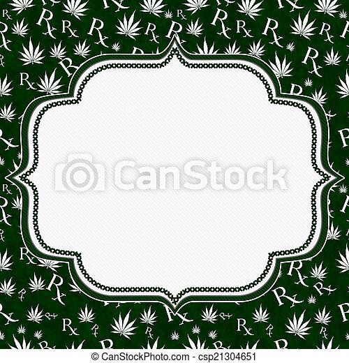 Hoja de marihuana verde y blanca y prescripción simboliza ingenio - csp21304651