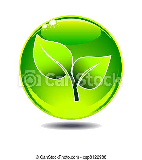 hoja verde, logotipo - csp8122988