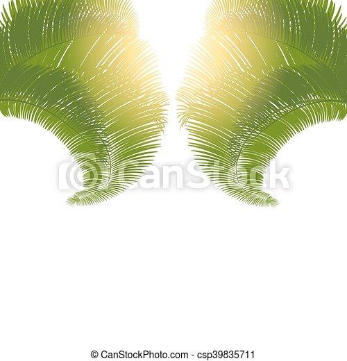 Hojas, árboles, fondo., palma, ilustración, blanco, salida del sol ...