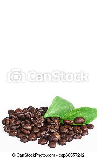 Algunos frijoles Coffe con hojas verdes aisladas en el fondo blanco - csp66557242