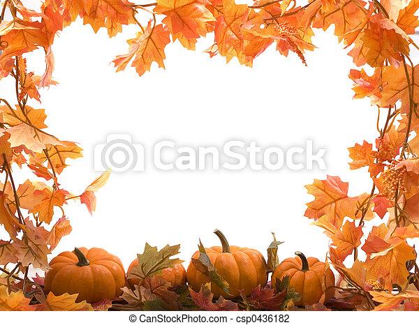 hojas, calabazas, otoño - csp0436182