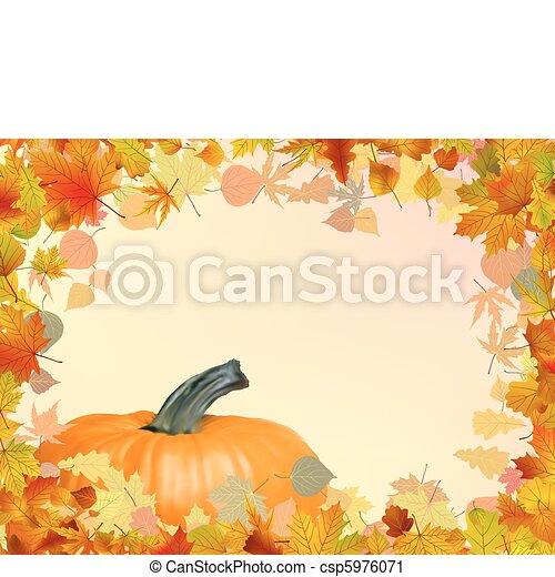 Hojas, eps, pumpkin., otoño, plantilla, 8, tarjeta.... clip art ...