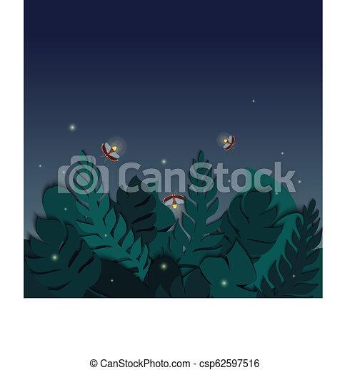 La escena tropical Twilight con hojas de palma y luciérnagas - csp62597516