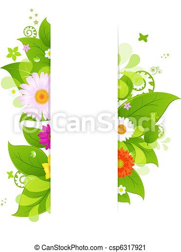 hojas, flor, natural, plano de fondo - csp6317921