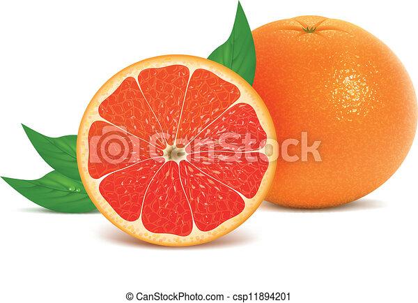 Frutas frescas con hojas - csp11894201
