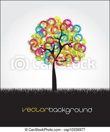 Círculos, hojas, árbol, coloreado ilustración con vectores - Buscar ...