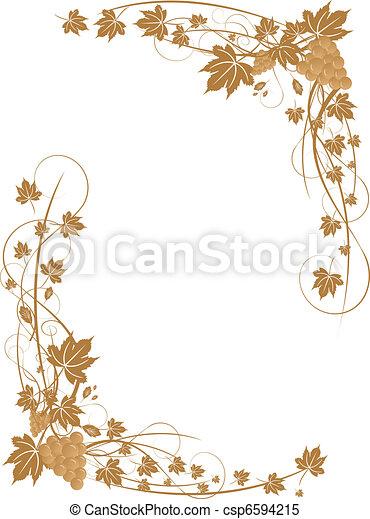 hojas, marco, uvas - csp6594215