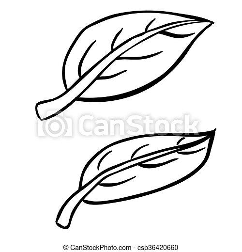 Hojas de dibujos animados en blanco y negro. Simples hojas de ...