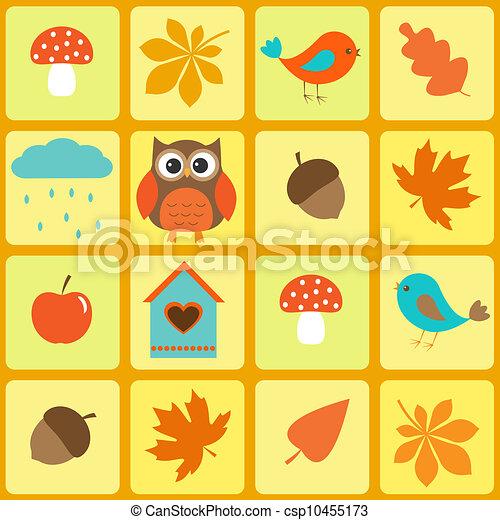 Pájaros, búhos y hojas de otoño - csp10455173