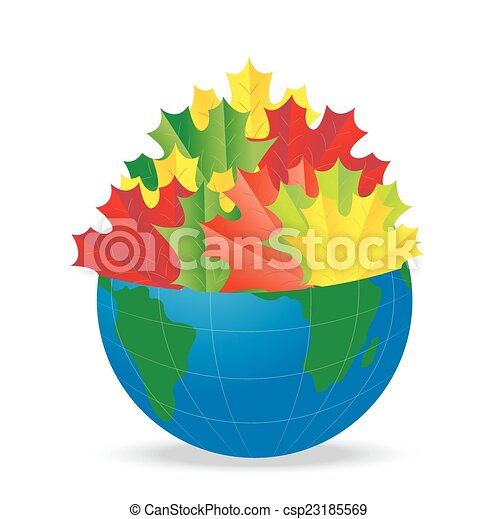 Planeta Tierra con las hojas de otoño - csp23185569