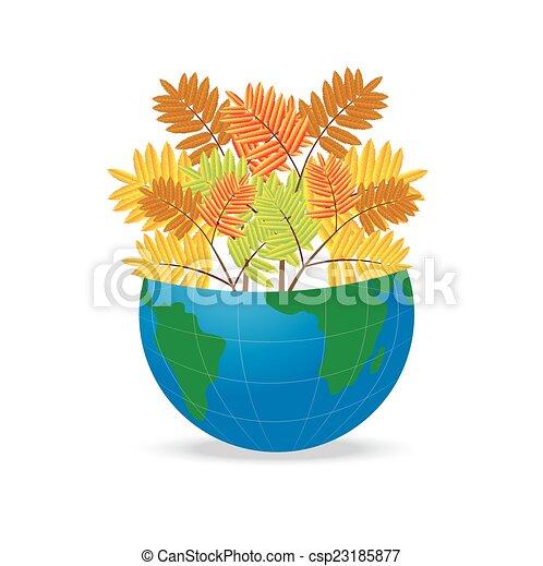 Planeta Tierra con las hojas de otoño - csp23185877