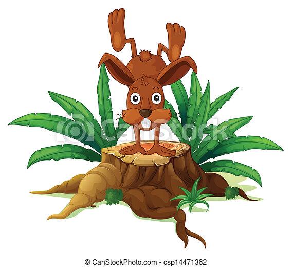 Un conejo en un muñón con hojas - csp14471382