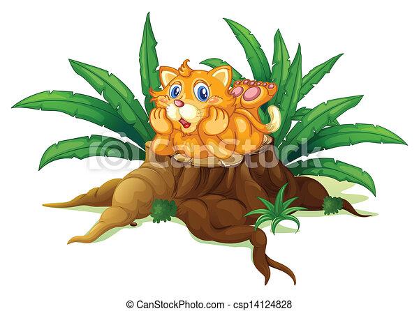 Un gato sobre un tocón con hojas - csp14124828