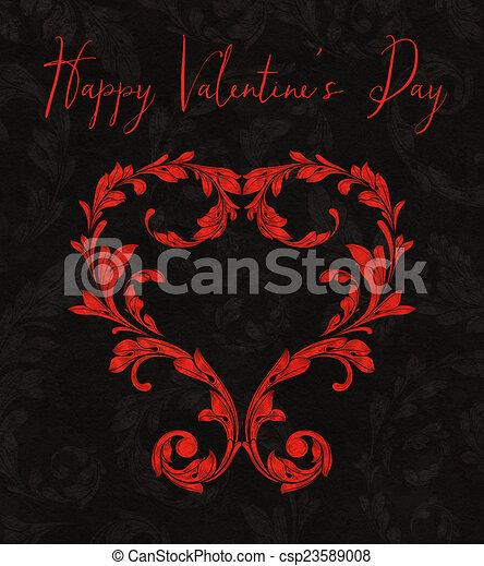 Corazón de San Valentín de hojas de Laurel - csp23589008