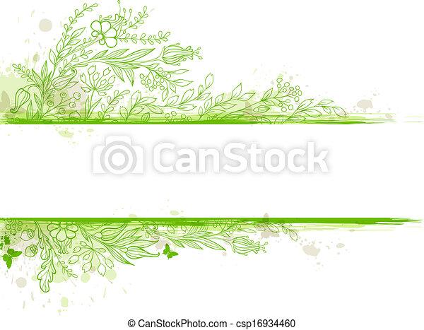 hojas verdes, flores, bandera - csp16934460