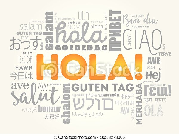 hola hello greeting in spanish word cloud in different languages rh canstockphoto com au Spanish Border Designs hula hoop clipart