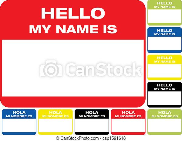 Hola, mi nombre es etiqueta - csp1591618