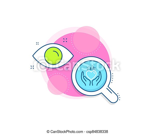 Hold heart line icon. Care love emotion sign. Vector - csp84838338