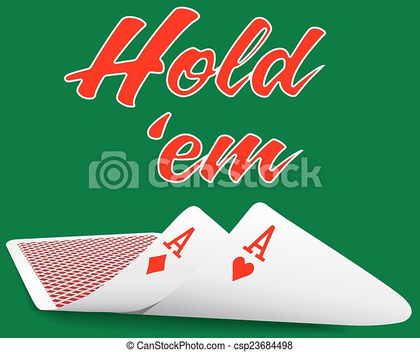 Holdem Poker pair ace cards under - csp23684498