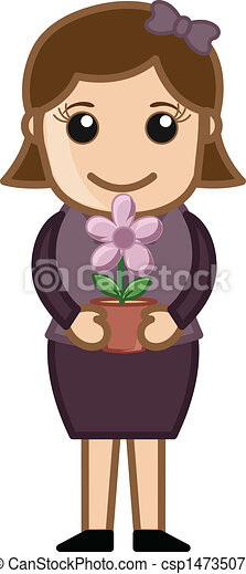 Holding a Flower Pot in Hands - csp14735076
