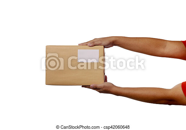 Holding Brown Package Box - csp42060648