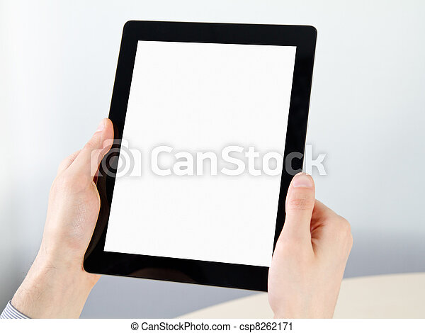 Holding Electronic Tablet PC In Hands - csp8262171