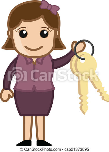 Holding Key Chain Cartoon Vector Drawing Csp