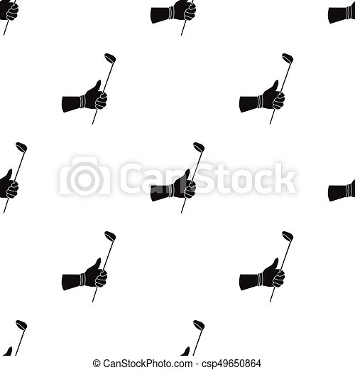 Holding Of A Golf Club Icon In Black Style Isolated On White