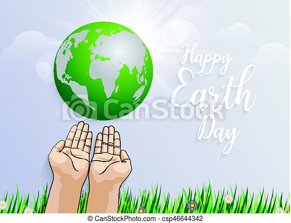 holding planet Earth in hands against green grass spring background - csp46644342