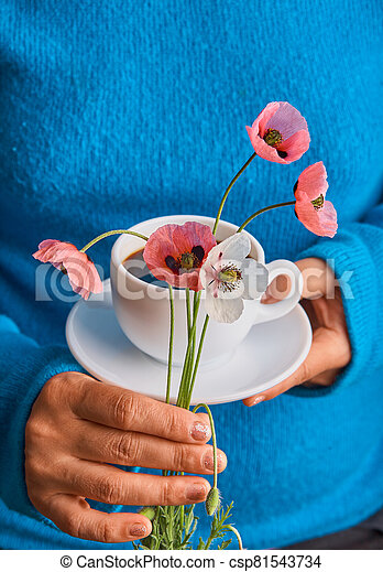 holding poppy flowers and a White cup of warm morning coffee. Blue background. - csp81543734
