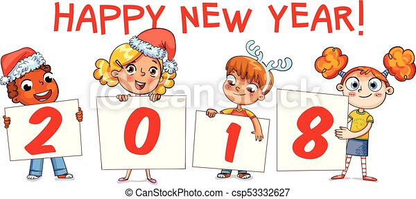 holding poster new year 2018 funny cartoon character csp53332627