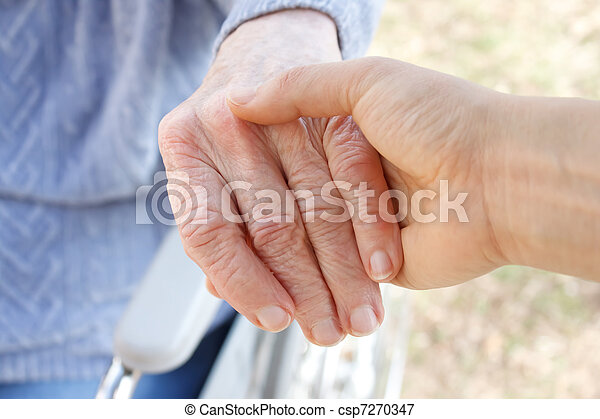 Holding senior's hand - csp7270347